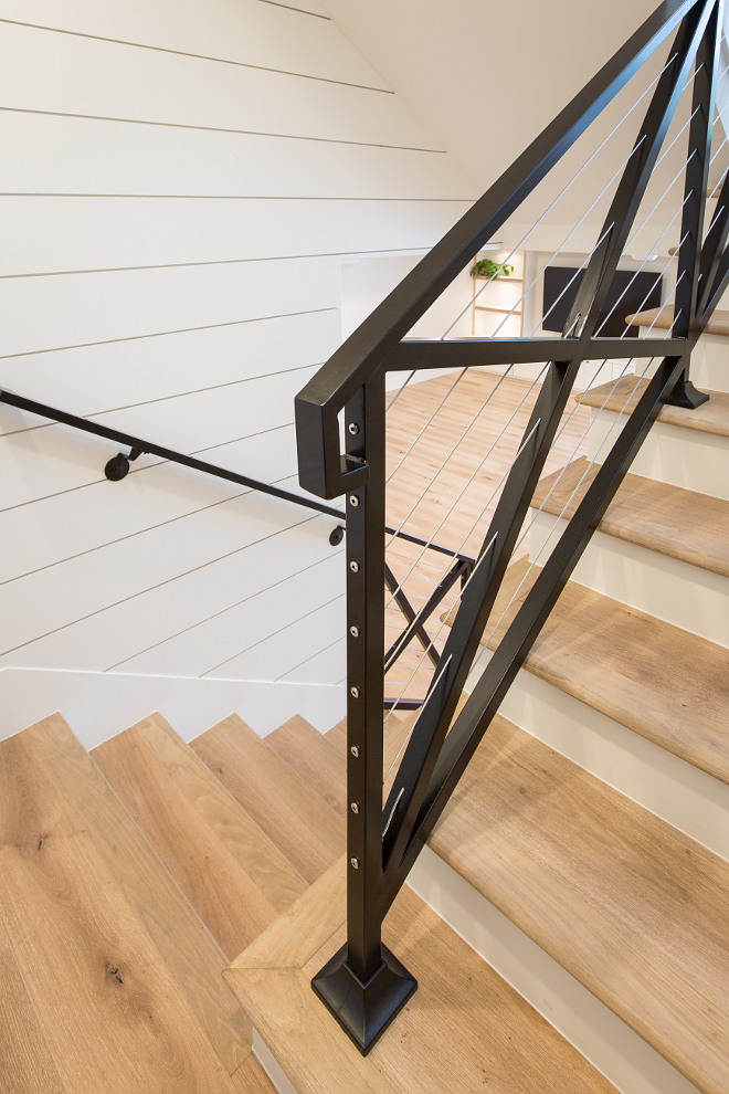 Farmhouse stair with black steel cross railing, steel cable, white oak threads and shiplap wall paneling. Farmhouse stair with black steel cross railing, steel cable, white oak threads and shiplap wall paneling. Farmhouse stair with black steel cross railing, steel cable, white oak threads and shiplap wall paneling. Farmhouse stair with black steel cross railing, steel cable, white oak threads and shiplap wall paneling. Farmhouse stair with black steel cross railing, steel cable, white oak threads and shiplap wall paneling #Farmhousestair #blacksteel #crossrailing #steelcable #whiteoakthreads #shiplap #paneling AK Construction