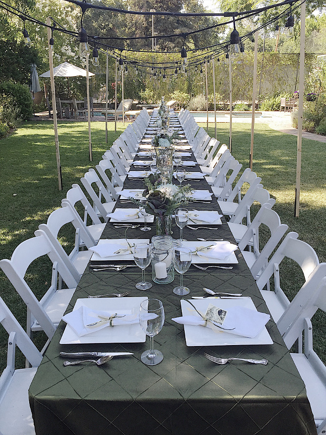 Outdoor entertaining Ideas. Outdoor entertaining Ideas. The long table in our backyard and lights are the perfect setting! Outdoor entertaining Ideas #Outdoorentertaining #OutdoorentertainingIdeas Beautiful Homes of Instagram @my100yearoldhome