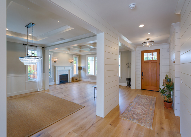 Shiplap hall connects the formal spaces to the rest of the house. Shiplap hall connects the formal spaces to the rest of the house. Shiplap hall connects the formal spaces to the rest of the house. Shiplap hall connects the formal spaces to the rest of the house. Shiplap paint color is Sherwin Williams Alabaster (eggshell). Shiplap hall connects the formal spaces to the rest of the house #Shiplap #hall AK Construction