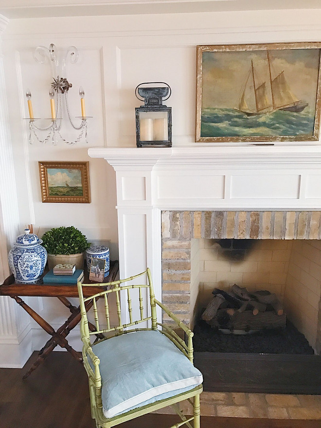 Traditional fireplace with brick surround and limestone inserts. #fireplace #traditionalfireplace #brickfireplace #bricksurround #limestone #fireplaceinsert Beautiful Homes of Instagram @SweetShadyLane