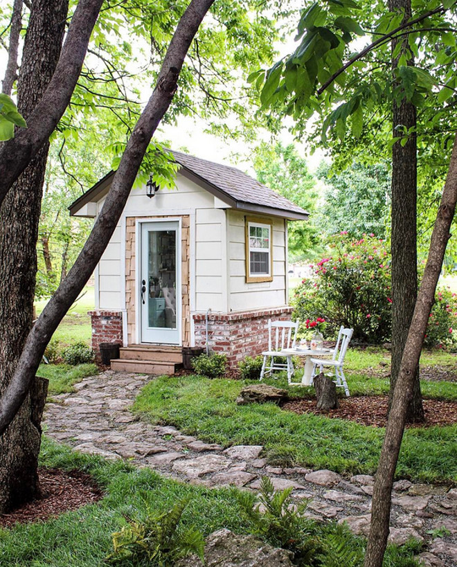 Garden Shed. This 80 sq ft garden shed was converted into a home office/craft room. See more on Home Bunch. Home Bunch Beautiful Homes of Instagram @cottonstem
