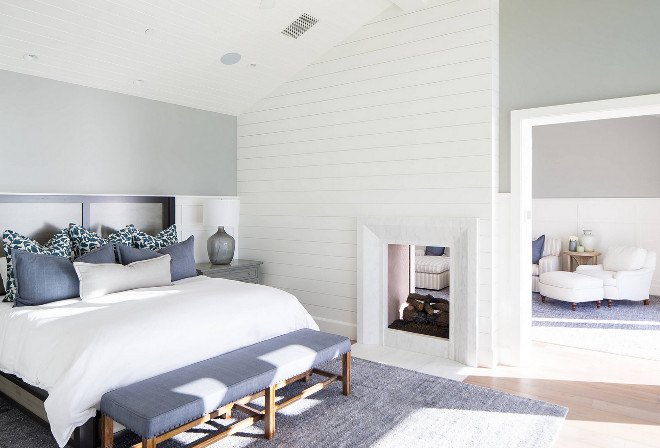 Bedroom shiplap fireplace Bedroom features a shiplap fireplace #shiplap #fireplace #bedroom