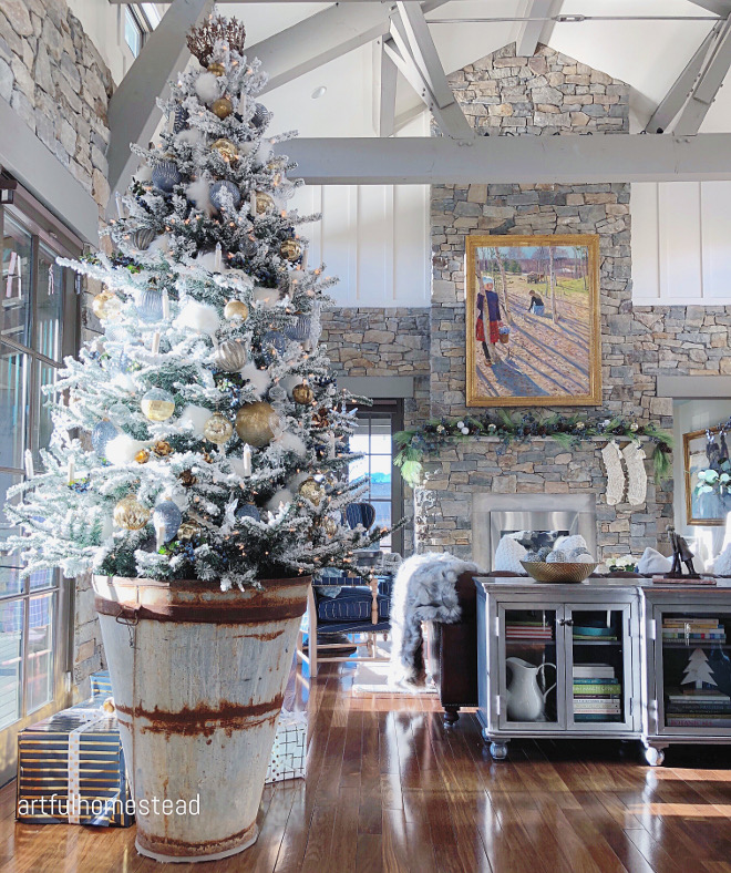 Farmhouse Christmas Tree Barrel
