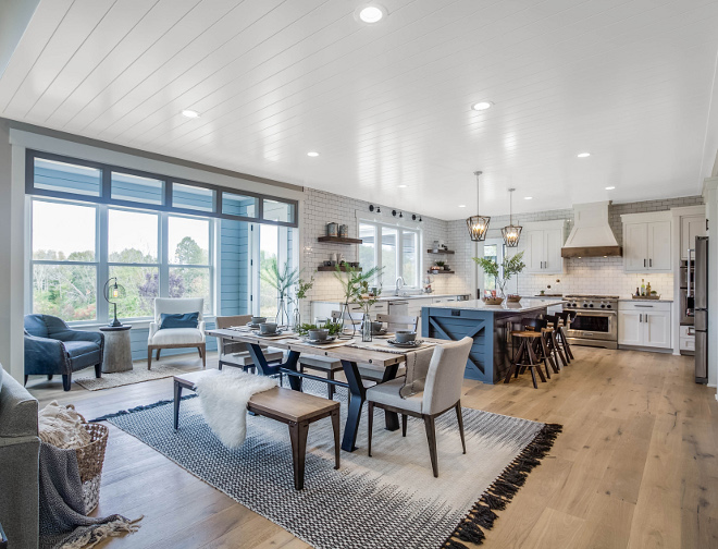 Farmhouse Kitchen Dining Area, I love this open layout, Notice the sitting room with shiplap,Farmhouse Kitchen Dining Area Farmhouse Kitchen Dining Area Farmhouse Kitchen Dining Area Farmhouse Kitchen Dining Area #Farmhouse #Kitchen #DiningArea