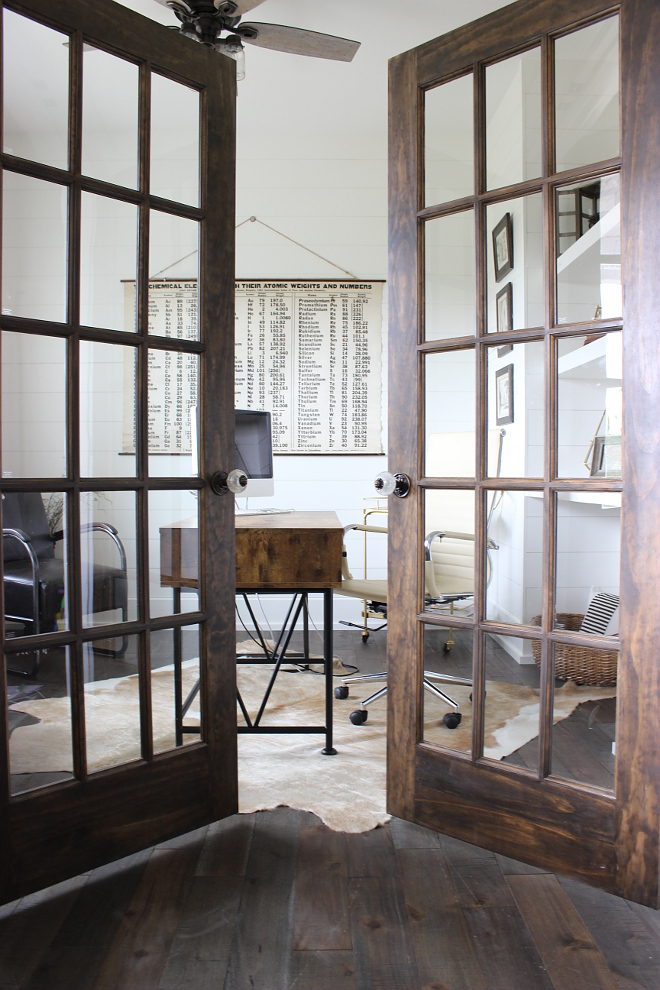 Home office door To the right upon entry is my husband's office Dark stained french doors with antique knobs welcome you into his more masculine modern office - Beautiful Homes of Instagram Home Bunch