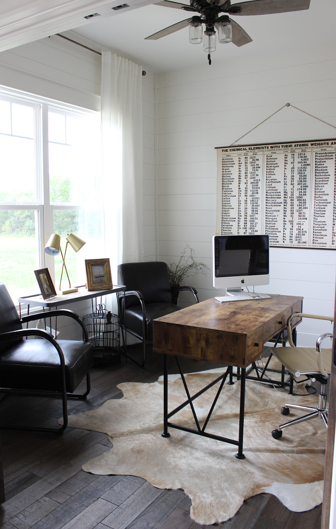 Industrial Farmhouse home office with shiplap masculine home office with shiplap paneling #homeoffice #masculinehomeoffice #industrialfarmhouse #shiplap Beautiful Homes of Instagram Home Bunch
