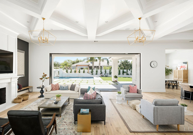 Large great room furniture layout ideas. This large great room features two distinct sitting areas. #greatroom #furniturelayout A Finer Touch Construction