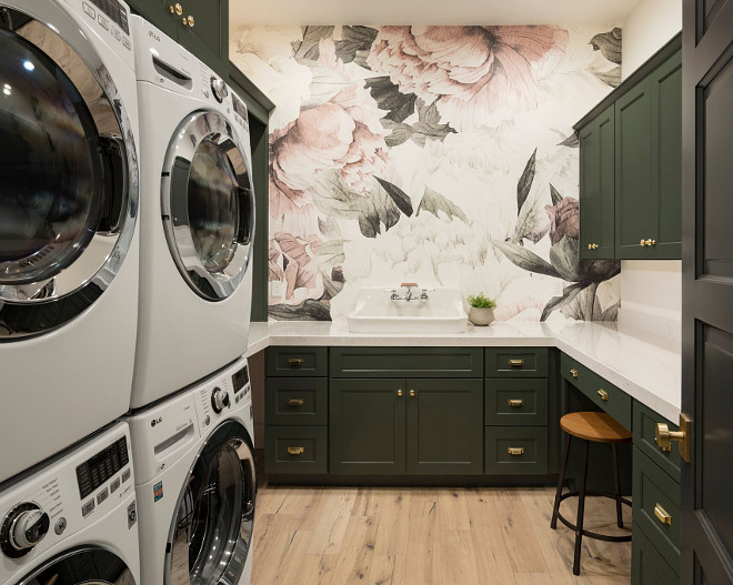 Laundry Room Wallpaper. Wallpaper is Anewall. A Finer Touch Construction