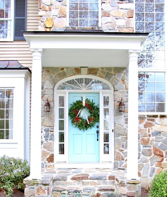 Light Turquoise Door Paint Color Benjamin Moore 723 Spring Rain decorated for Christmas with large wreath Benjamin Moore 723 Spring Rain
