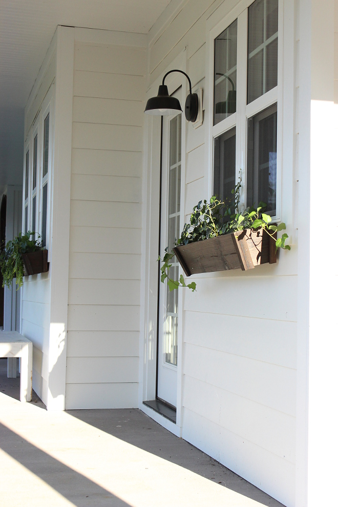 We went with an all-white exterior from Sherwin Williams called Alabaster White. The exterior is covered board and batten and horizontal 7-inch hardy plank - Beautiful Homes of Instagram Home Bunch