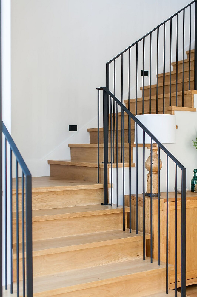 White Oak Staircase with full white oak treads and wrought iron stair railing White Oak Staircase with full white oak treads and wrought iron stair railing ideas