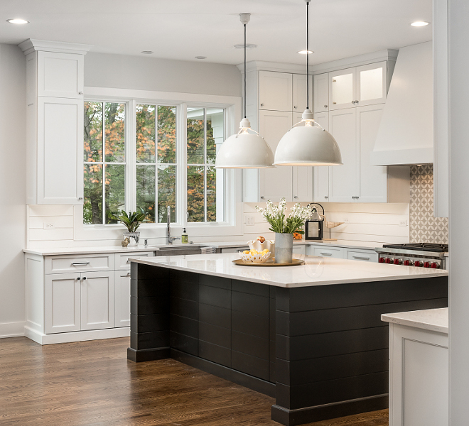 White kitchen with black shiplap island White kitchen with black shiplap island White kitchen with black shiplap island