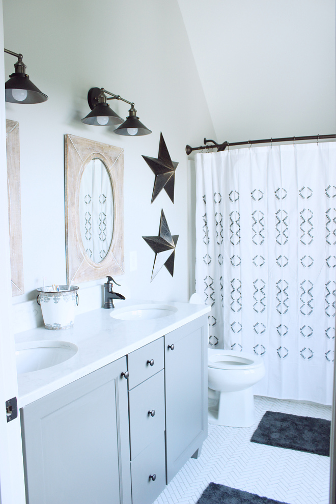 boys bath boys bath with herringbone floor tile #boysbath Beautiful Homes of Instagram Home Bunch @crateandcottage