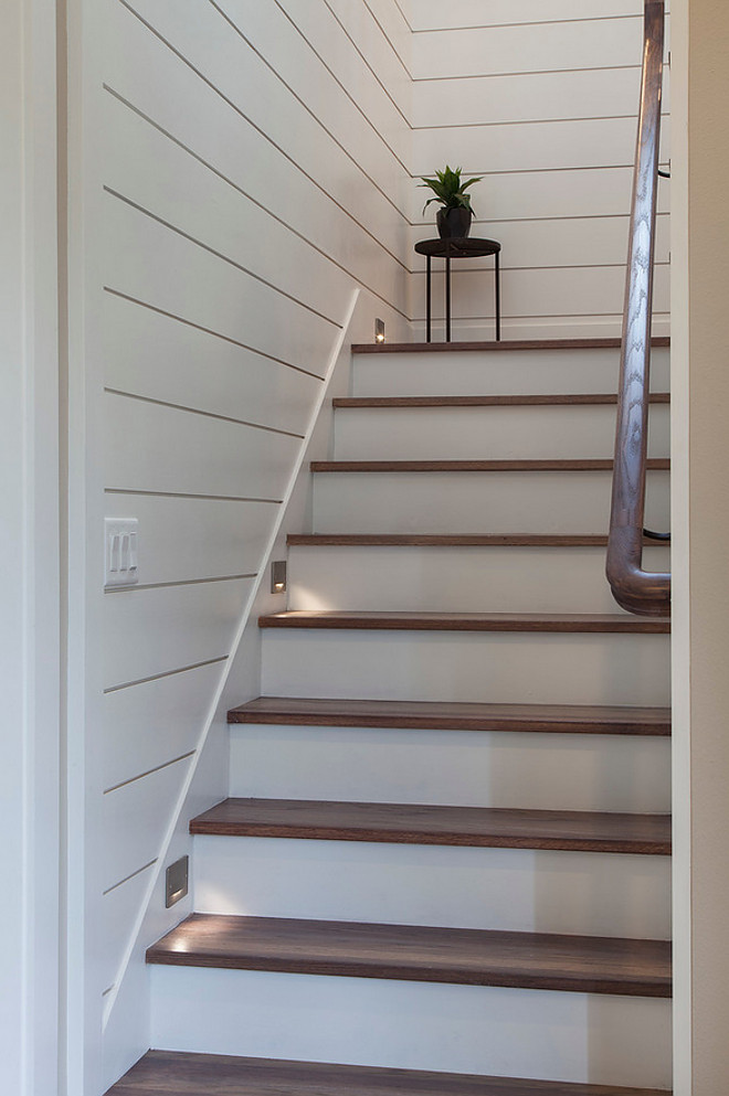 Shiplap staircase Shiplap staircase Shiplap staircase with lights and White Oak Threads Paint Color is Sherwin Williams Pure White #Shiplap #staircase Home Bunch