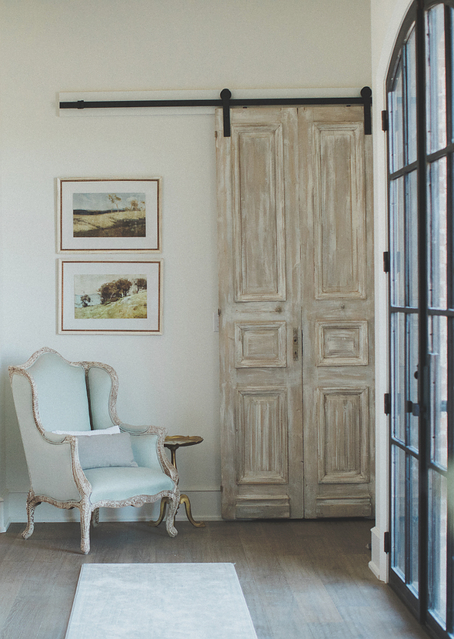 Antique door hung as Barn Door Antique French Door hung with barn door hardware The barn door is a true antique door from France