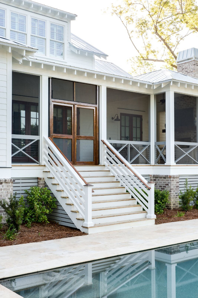Back Porch with Tin roof, rafter tails and custom rail design