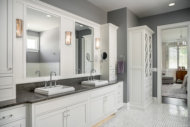 Double vanity The master bathroom features a large custom cabinet and plenty of storage