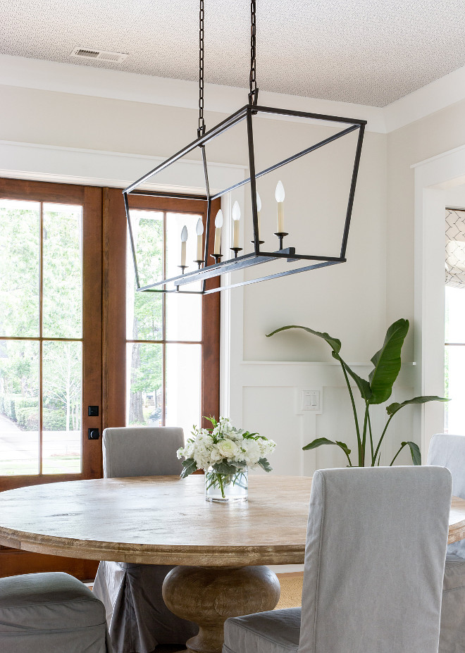 Linear Darlana Chandelier Visual Comfort & Co Darlana Pendant, Aged Iron An angular frame of aged iron creates a stylized lantern shape in this distinctive, contemporary piece