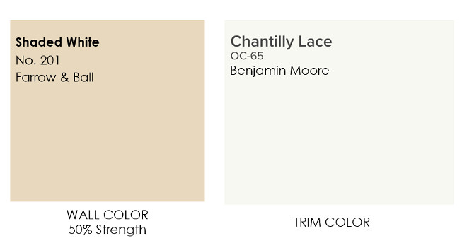 Neutral Main Floor Wall and Trim Paint Color Farrow and Ball Shaded White Trim Color Chantilly Lace OC-65 Benjamin Moore