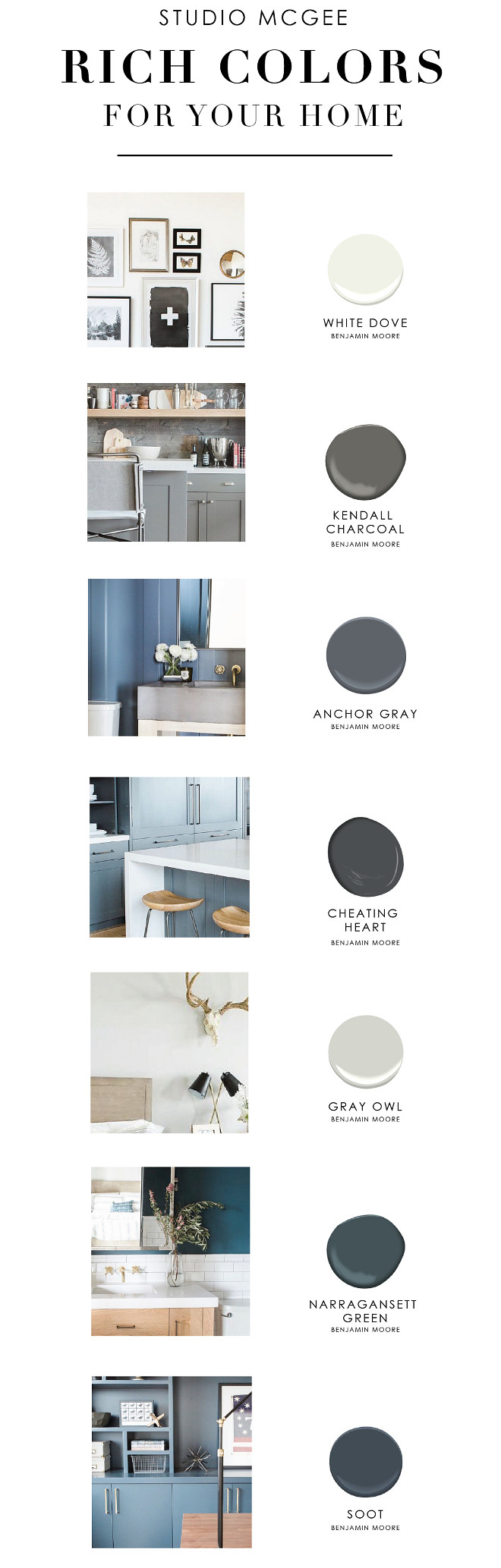 New and Fresh Paint Colors for your Home White Dove by Benjamin Moore, Kendall Charcoal by Benjamin Moore, Anchor Gray by Benjamin Moore, Cheating Heart by Benjamin Moore, Gray Owl by Benjamin Moore, Narragansett Green by Benjamin Moore