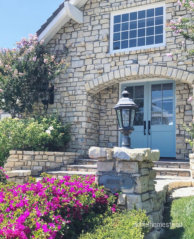 Stone exterior with white trim Stone exterior with white trim Exterior Trim Paint Color Whisper by Behr