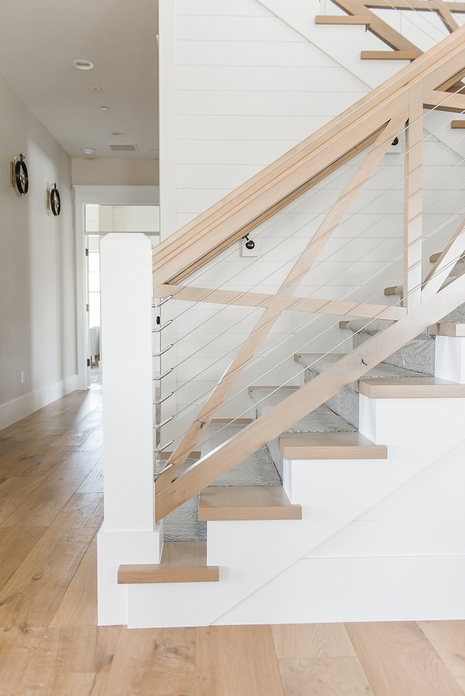Farmhouse staircase with cable and crossed x railing White Oak Farmhouse staircase with cable and crossed x railing Farmhouse staircase with cable and crossed x railing Farmhouse staircase with cable and crossed x railing