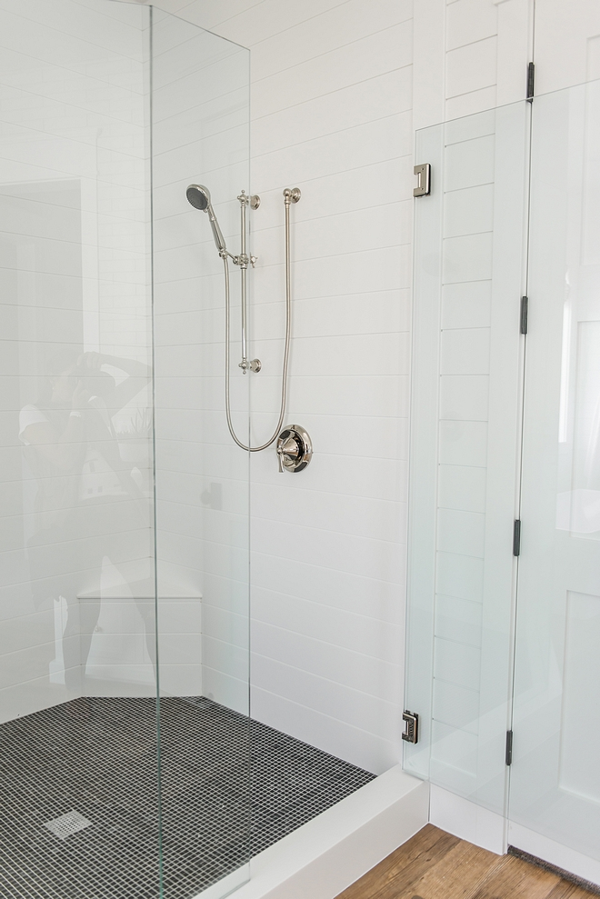 Shiplap Shower The builder used Corian sheets and then routed the lines to match shiplap