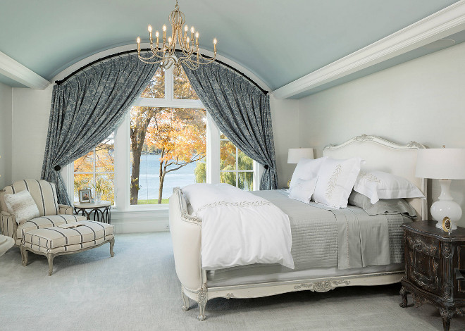 Bedroom Barrel Ceiling Traditional Bedroom Barrel Ceiling with lake view and curved curtain rod