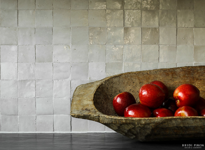 Grey Backsplash Tile Since they are hand glazed, each tile has slightly different color, they have a soft, watercolor feel to them