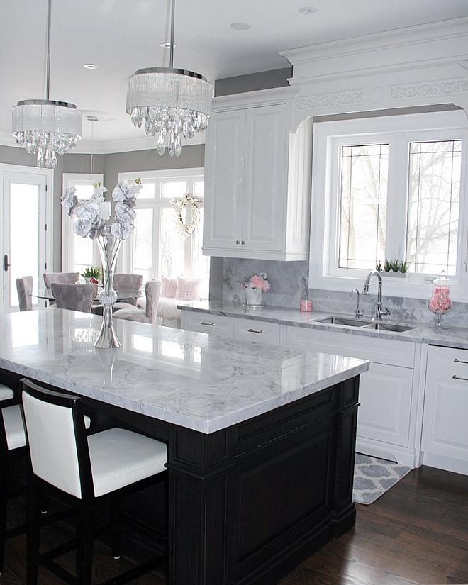 Mittered Super White Quartzite Countertop Kitchen Mittered Super White Quartzite Countertop