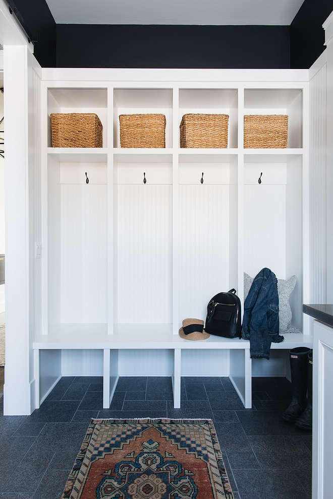 Mudroom cubbies are painted in Benjamin Moore OC-117 Simply White