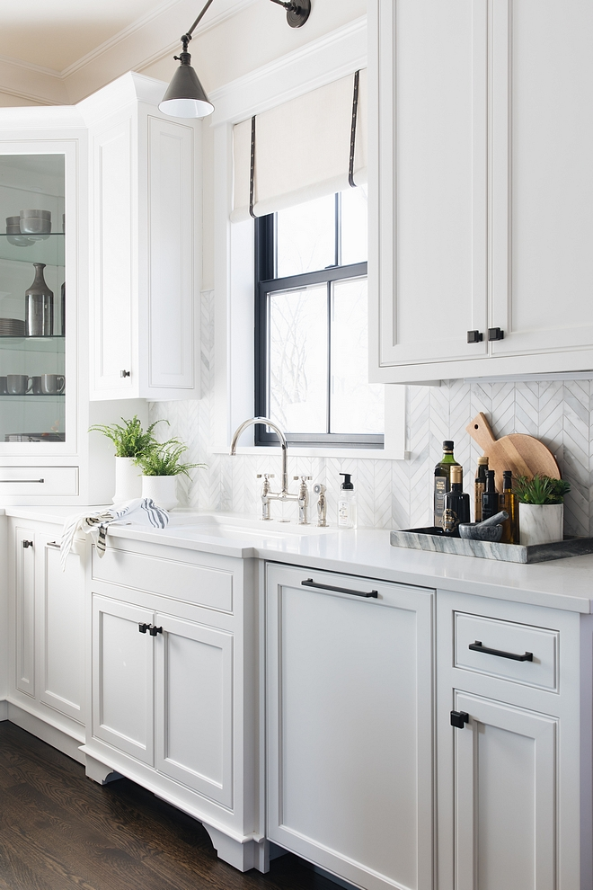 White Kitchen with black hardware Cabinet Hardware Top Knobs Transcend Ascendra