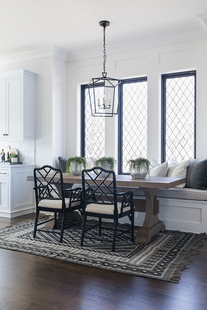 Farmhouse breakfast nook Black and white Farmhouse breakfast nook with black windows Farmhouse breakfast nook Farmhouse breakfast nook