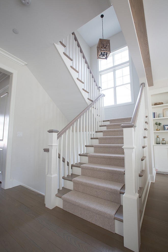 White Oak Staircase The staircase railings were stained to match the stairway White Oak treads #WhiteOakstaircase #staircase #railings #stairwaytreads