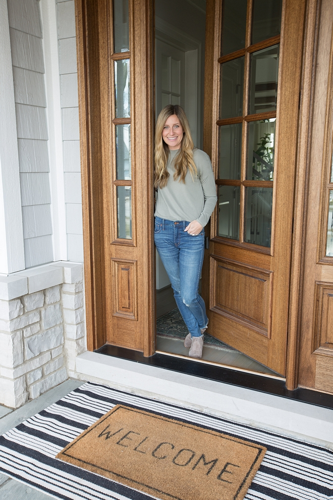 Front door doormat layred doormat black and white striped runner layered with welcome doormat layred doormat sources on Home Bunch