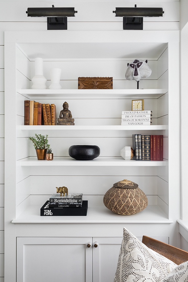 Shiplap Bookcase DIY Shiplap Bookcase Shiplap Bookcase Paint Color Benjamin Moore Super White OC-152