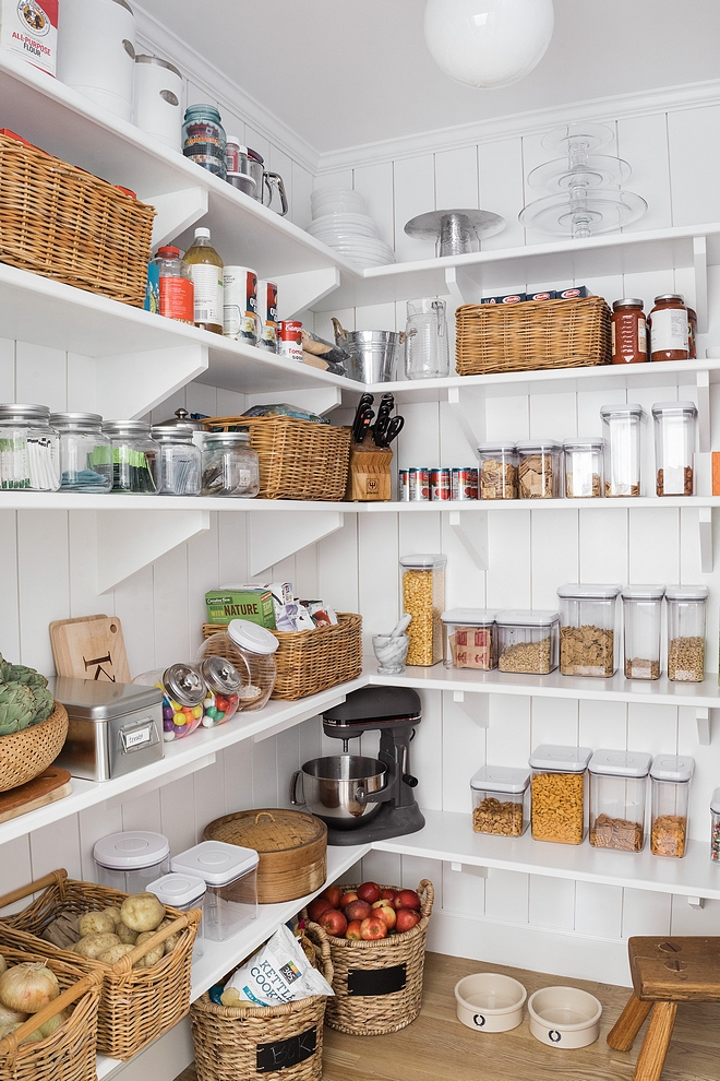 Pantry Shiplap Pantry Pantry features custom shelves and vertical shiplap pantry