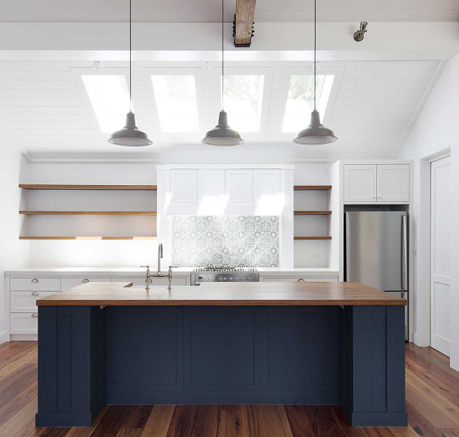 Kitchen island navy kitchen island paint color this navy island works perfectly with the Timber countertop Navy island paint color Porters Paints Mariner #PortersPaintsMariner #navyislandpaintcolor #islandpaintcolor #paintcolor