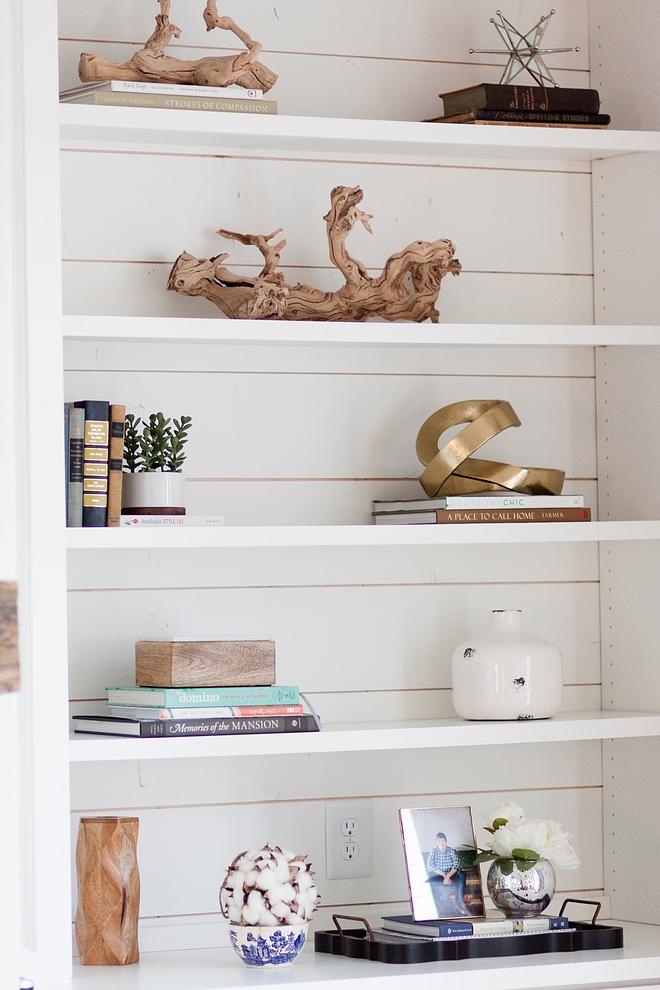 Farmhouse bookshelf with shiplap Farmhouse Bookshelf Decor Ideas Farmhouse Bookshelf Decor souces on Home Bunch Bookshelf Decor