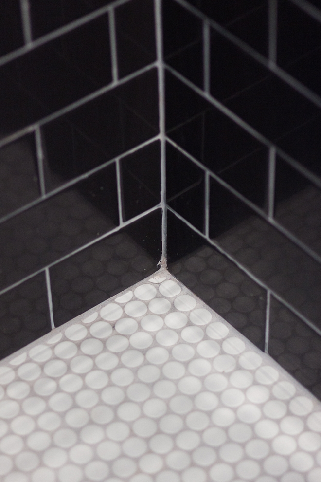 Shower tile black wall tile with Penny Round white matte mosaic sheet floor tile
