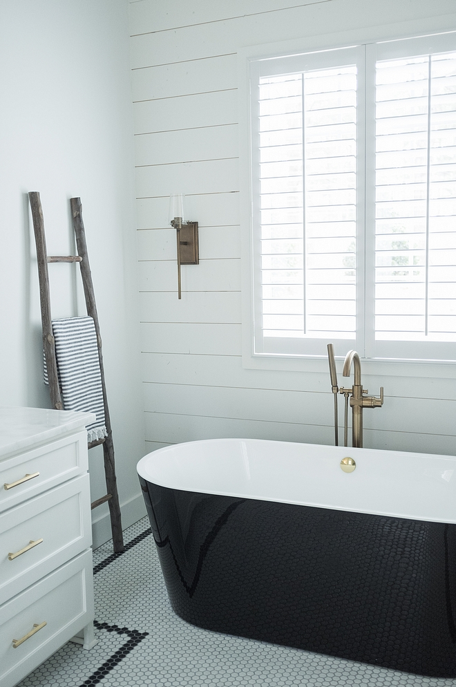Farmhouse Bathroom Farmhouse bathroom with shiplap and black and white hex floor tile hex tile sources on Home Bunch