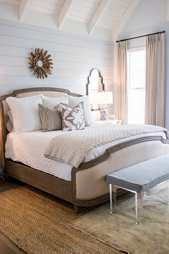 Benjamin Moore 2130-70 Seattle Gray Modern Farmhouse Bedroom with shiplap wall paint color Benjamin Moore 2130-70 Seattle Gray Benjamin Moore 2130-70 Seattle Gray