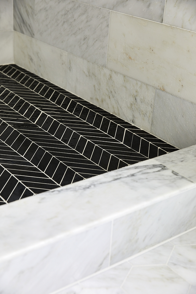 Carrara marble shower tile with black chevron shower floor tile 12 x 24 Carrara marble shower tile with black chevron shower floor tile #Carraramarbleshower #showertile #blackchevrontile #showerfloortile #floortile
