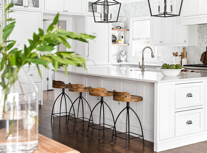 White kitchen island White kitchen island with grey quartz countertop and wood counterstools with metal base White kitchen island #Whitekitchenisland