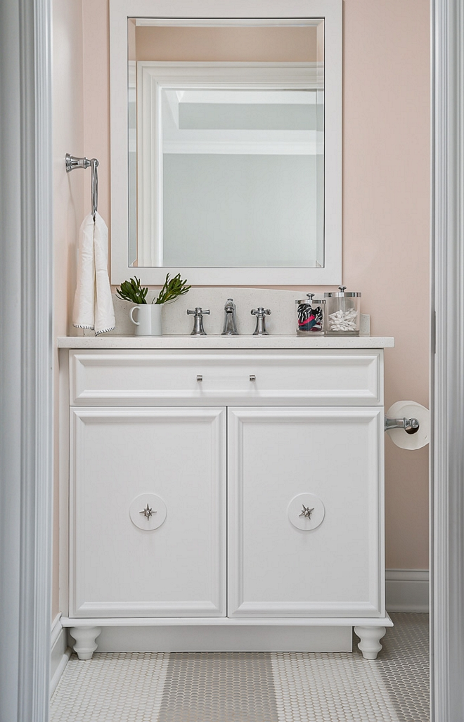 BM White Heron Bathroom vanity is custom and painted in BM White Heron BM White Heron #BMWhiteHeron