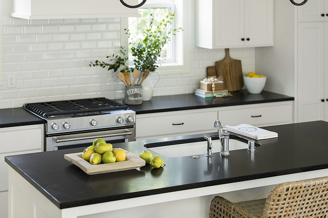Honed Black Granite Kitchen Countertop is Honed Opalescence Granite Kitchen Honed Black Granite Countertop #HonedBlackGranite #kitchen #Countertop