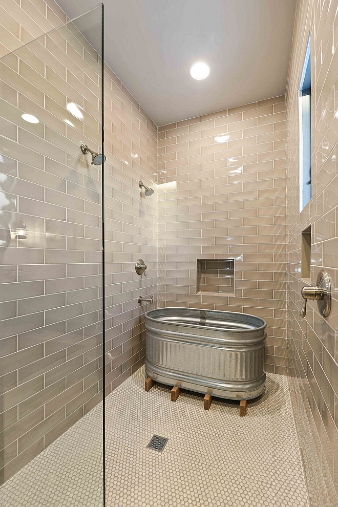 Taupe Shower Tile Bathroom with Taupe Shower Tile and round penny tile Taupe Shower Tile Taupe Shower Tile 4x12 Taupe Shower Tile #TaupeShowerTile #TaupeTile
