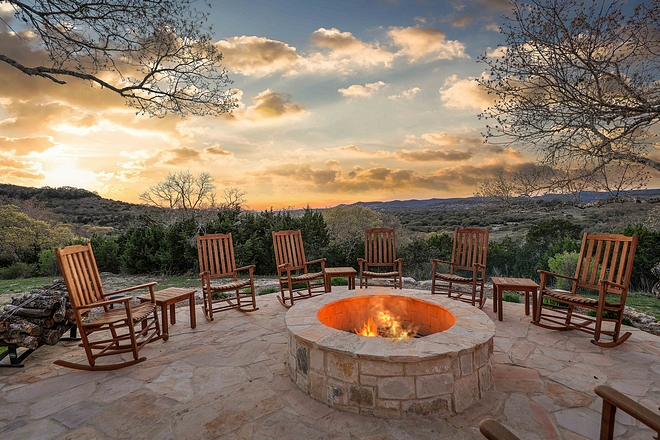 Firepit with rocking chairs