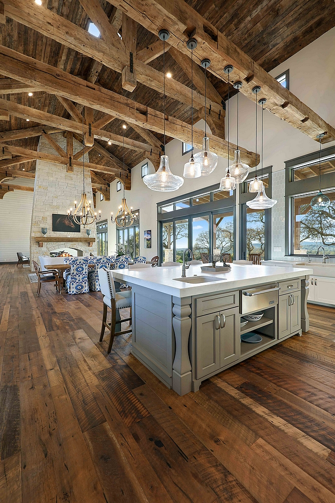 Reclaimed Beams Rafters Joints Trusses Kitchen and Great Room with Vaulted Ceiling featuring Barn Wood Shiplap #ReclaimedBeams #Rafters #RafterJoints #Trusses