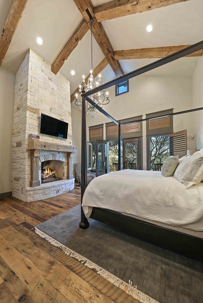Bedroom Reclaimed Beams Bedroom Reclaimed Beams Bedroom Reclaimed Beam and stone fireplace with reclaimed wood mantel Bedroom Reclaimed Beam #Bedroom #ReclaimedBeams